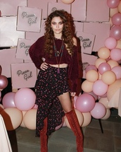 sweater,boots,cropped sweater,paris jackson,maroon/burgundy,burgundy sweater,floral skirt,floral wrap skirt