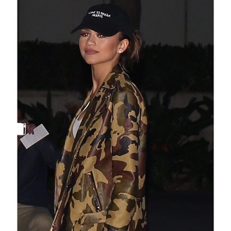 jacket camouflage zendaya green green jacket olive green leather jacket leather urban asap rocky rock night rihanna baddies