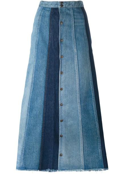 Saint Laurent skirt long skirt denim patchwork long women cotton blue