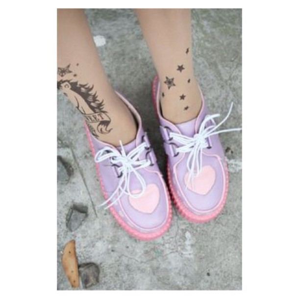 shoes kawaii shoes creepers purple pastel