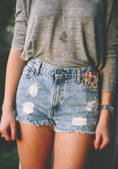 jewels iphone cover blouse grey sweatshirt jeans shorts silver necklace shorts