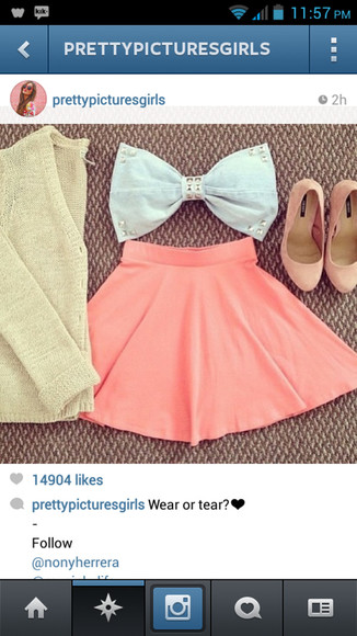 shoes shirt skirt bow sweater crop tops bow tie bag