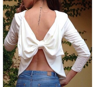 top bow white open back summer cute girly spring fashion flirty sexy crop tops adorable outfit long sleeves backless papillon noeud les noeuds de justine butterfly cute top stylish zaful
