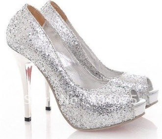 shoes silver shoes glitter shoes high heels sparkly