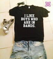 t-shirt,i like boys who are in bands,black graphic t-shirt,short sleeve,shirt
