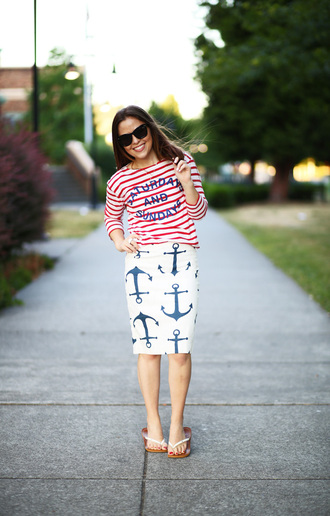 dress corilynn blogger anchor pencil skirt sailor striped shirt
