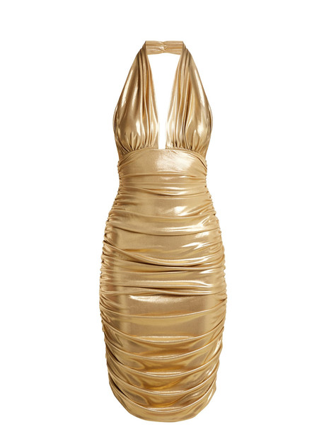dress plunge dress gold