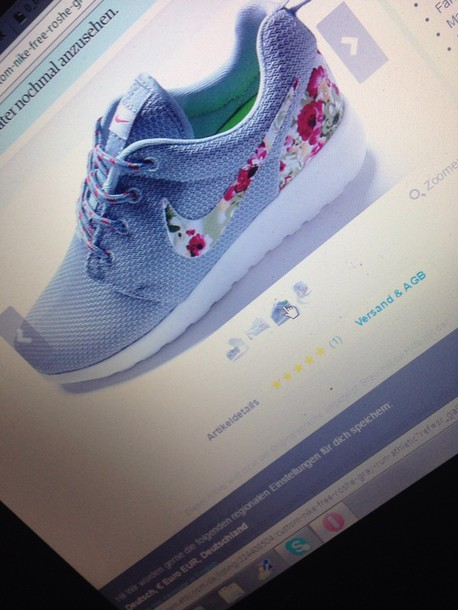 shoes nike roshe run grey with flowersrs