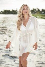 swimwear,adjustable drawstring waist,mapalé,white cover up,v neck caftan