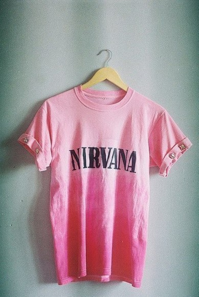 rivet t-shirt band pink women men nirvana tie dye nirvana t-shirt