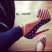 shoes,high heels,usa,high,heels,america,american,pumps,sexy,amarican,print,american flag,country heels
