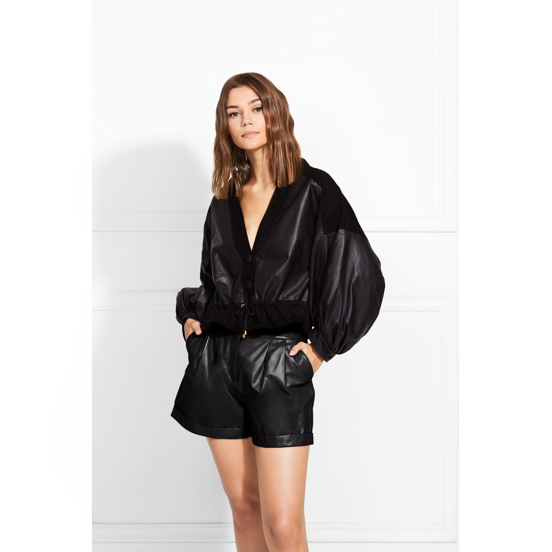 Elisa Paper Leather Shorts   Rachel Zoe
