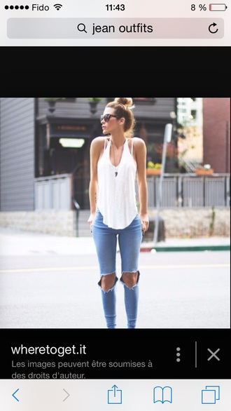 shirt white tank top jeans