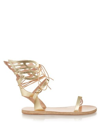 sandals leather sandals leather tan gold shoes