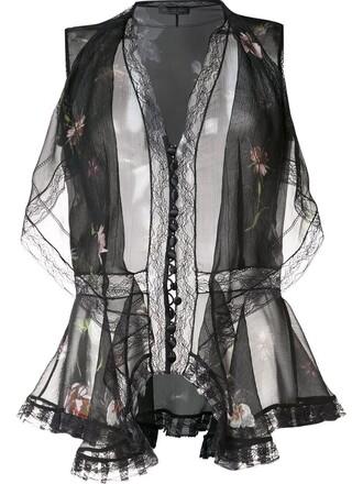blouse women draped floral black silk top