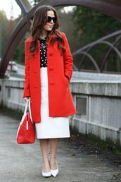 dress corilynn,blogger,white skirt,midi skirt,red coat,red bag,classy,office outfits,skirt,top,coat,jewels,bag,shoes