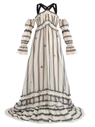 gown cotton silk navy dress