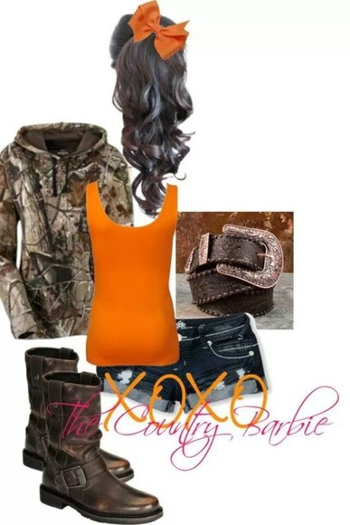 camouflage sweater orange shirt country country outfit