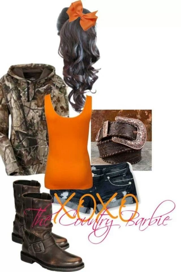 sweater camouflage orange shirt country country style
