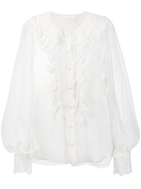 Chloe blouse sheer women white silk top