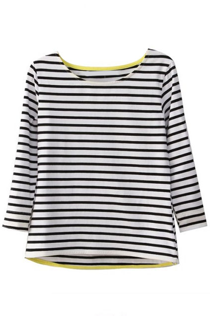 ROMWE | Striped Asymmetric Hem Black T-Shirt, The Latest Street Fashion