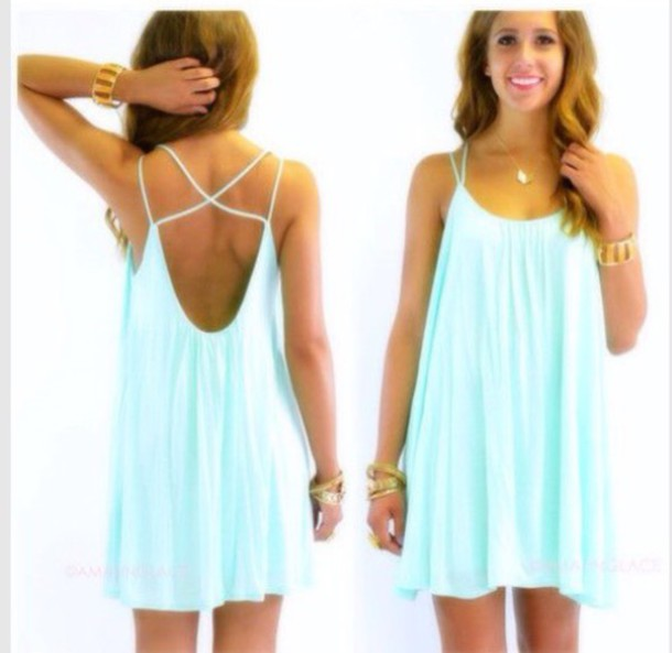 Dress: casual dress, tiffany blue, aqua dress, summer dress ...
