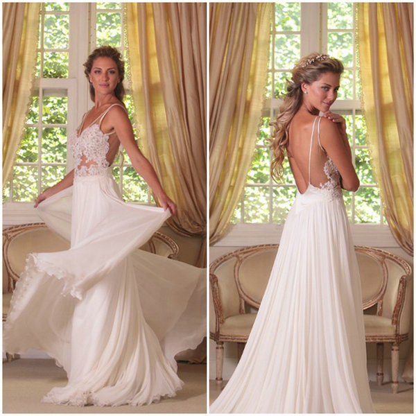 Aliexpress.com : Buy Sexy Backless A line V neck Bridal Summer Dress Sleeveless Sheer Lace Top Long Beach Wedding Dresses 2014 from Reliable wedding dress sleeve styles suppliers on 27 Dress