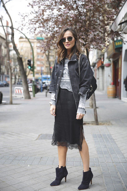 3049430304 lady addict blogger sunglasses bag shoes black lace denim jacket grey top  lace skirt black boots