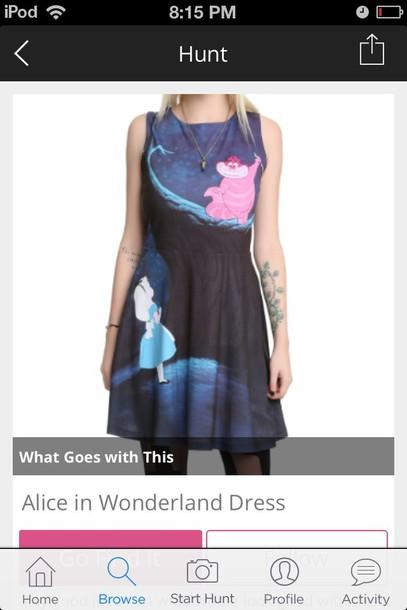 dress blue dress dark blue alice in wonderland disney dress