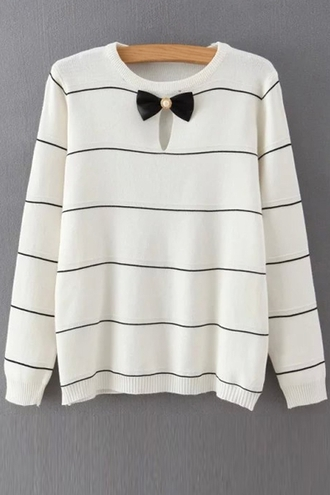 sweater fashion style cool bow trendy casual girly cute long sleeves stripes fall outfits clothes white winter outfits
