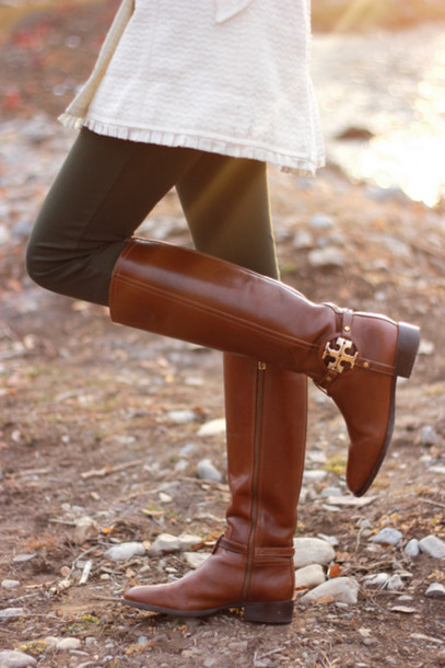 shoes boots brown leather boots leather brown gold zip knee high boots heels riding boots tory burch cute