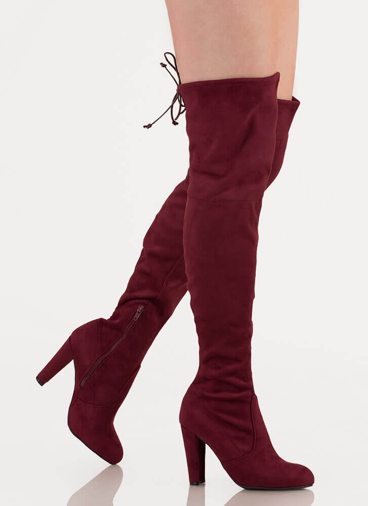 All Legs Over-The-Knee Chunky Boots BURGUNDY TAUPE BLACK REDBROWN OLIVE GREY CAMEL LEOPARD BROWN - GoJane.com