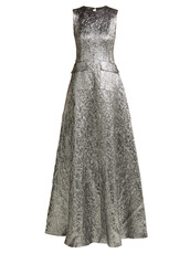 gown,metallic,jacquard,wool,silver,dress