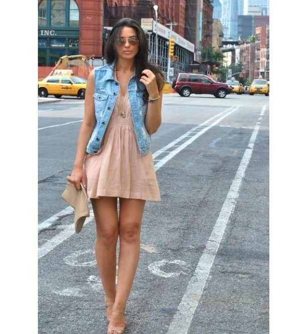 dress champagne denim jacket vest jewelry girly chic boho hipstrr indie soft grunge champagne dress jacket