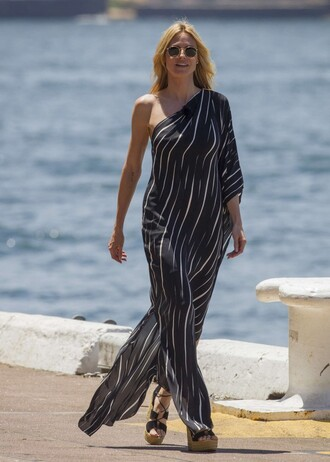 dress stripes striped dress heidi klum sandals wedges