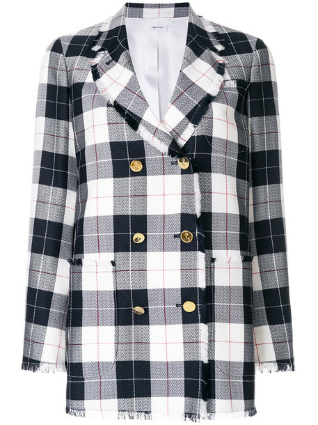 Thom Browne blazer double breasted women blue silk wool jacket