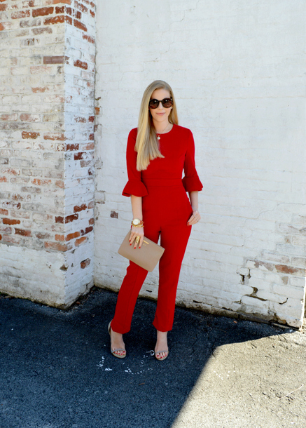 fash boulevard blogger jumpsuit bag jewels shoes red jumpsuits clutch sandals fall outfits fashion look