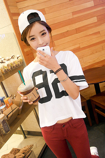 New 2014 223  spring and summer female 92 bf print loose t shirt short sleeve  factory wholesale t shirt women-inT-Shirts from Apparel & Accessories on Aliexpress.com