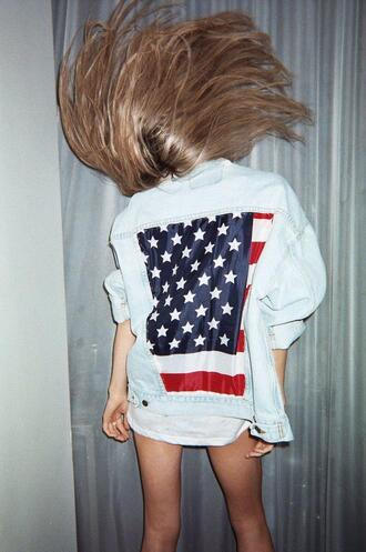 jacket usa jeans denim jacket american flag girl us flag guys denim shirt