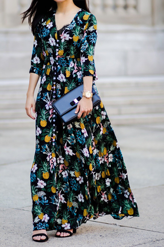 fastfood&fastfashion blogger dress bag tank top top jewels shoes sandals floral dress maxi dress