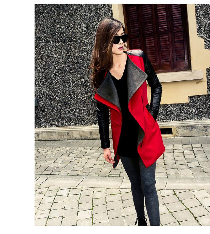 b35fd5c6f Free Shipping Plus Size Wholesale Fashion Patchwork Womens Long Warm Wool  PU Leather Sleeve Jacket Coat Windbreaker-in Leather & Suede from Apparel &  ...