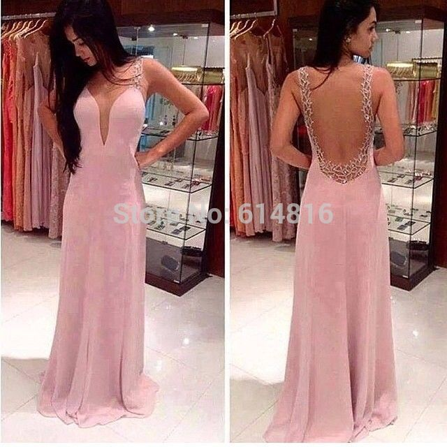 Aliexpress.com : Buy Hot Sale Customized Sheer O neck Sleeveless With Beadings Pink A line Chiffon Prom Dresses 2014 See Through Back from Reliable sale vest suppliers on Suzhou Babyonlinedress Co.,Ltd