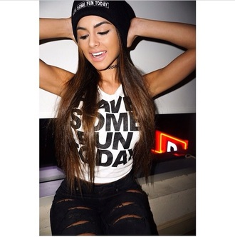 top sophia miacova shirt swag quote on it black jeans white t-shirt ripped jeans black beanie fashion style jeans hat