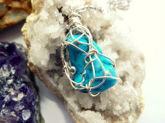Silver Wire Wrapped Turquoise Gemstone Necklace - Zodiac Birthstone