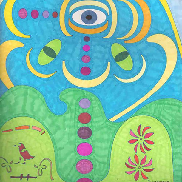 home accessory abstract art wall decor eye mushrooms virtual_dzines