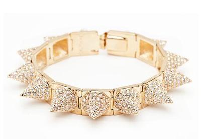 Cc skye  punk princess pave spike gold bracelet nwt retails $400