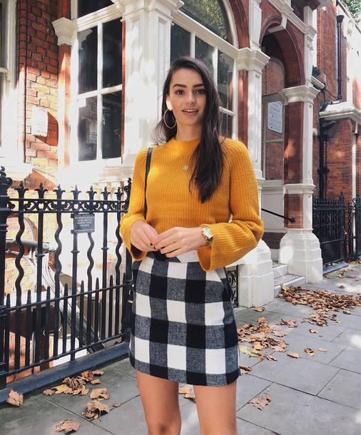 skirt tumblr tartan plaid skirt mini skirt sweater knit knitwear knitted sweater yellow yellow sweater