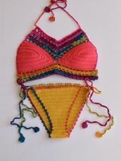 swimwear,crochet,crochet bikini,crop tops,halter top,summer,crochet halter top,2015 swimwear trends,2015 crochet trends,style,summer top,wholesale sexy swimwear