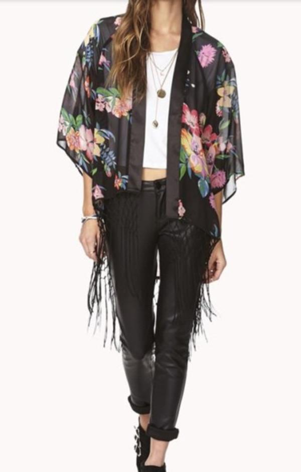 blouse kimono floral colorful dream closet couture boho hippie hippie chic fall attire fall outfits fall kimono