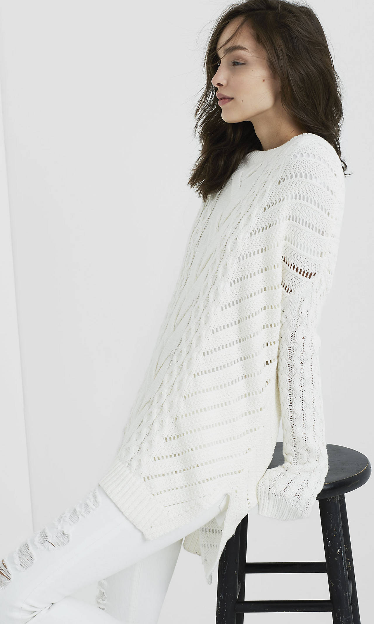 Open Cable Knit Tunic Sweater from EXPRESS